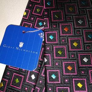 """Geoff Nicholson 100% Silk Tie Made in Italy 58"""""""